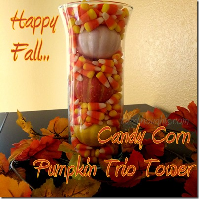 Candy Corn Pumpkin Trio Tower | Simple Six Dollar Fall Decor. Candy Corn Pumpkin Trio Tower is simple fall/autumn project perfect for any age. Make this Six Dollar Decor with supplies purchased at the Dollar Store. TrishSutton.com