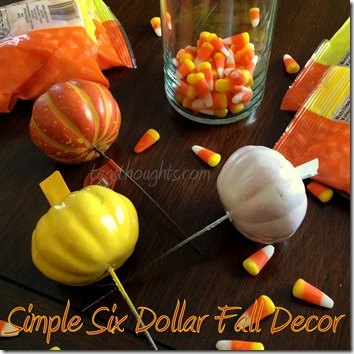 Candy Corn Pumpkin Trio Tower is simple fall/autumn project perfect for any age. Make this Six Dollar Decor with supplies purchased at the Dollar Store.