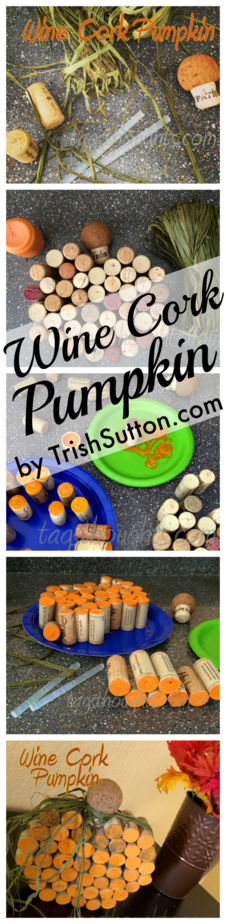Wine Cork Pumpkin Décor | Upcycled Autumn Craft; Just a few supplies required to create this festive fall décor. TrishSutton.com