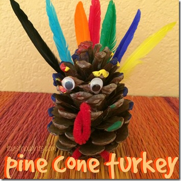 Pine Cone Turkey by TrishSutton.com; a little paint and glue, a couple googly eyes, a pipe cleaner and some feathers makes for a fun craft for little ones!