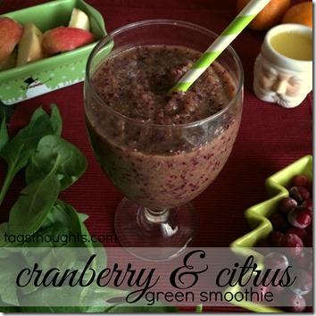 Cranberry & Citrus Green Smoothie by trishsutton.com