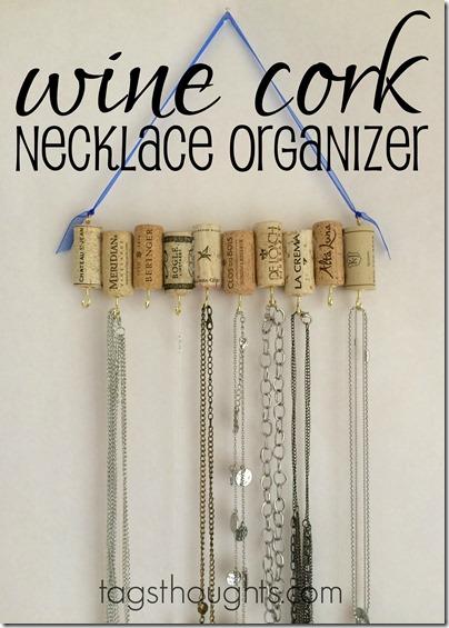 DIY Upcycle Wine Cork Jewelry Necklace Organizer by trishsutton.com
