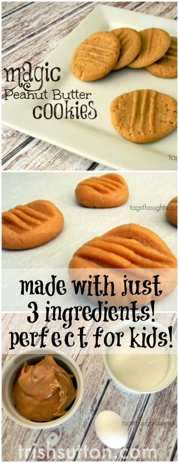 Magic Peanut Butter Cookies; Made with just 3 ingredients and perfect for kids!