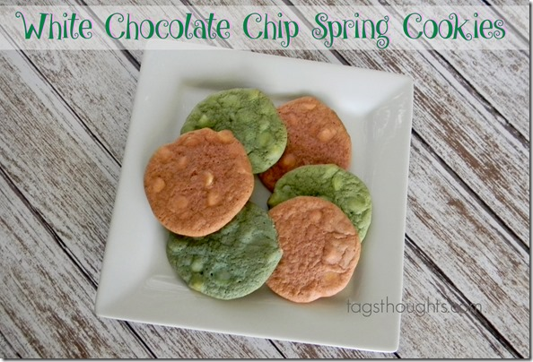 Spring Cookies; White Chocolate Chip Cookies in Pastel Colors by trishsutton.com