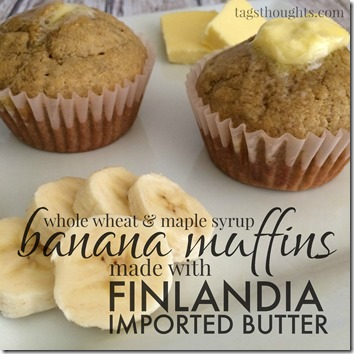 Whole Wheat Banana Muffin Recipe made with Finlandia Butter by tagsthoughts