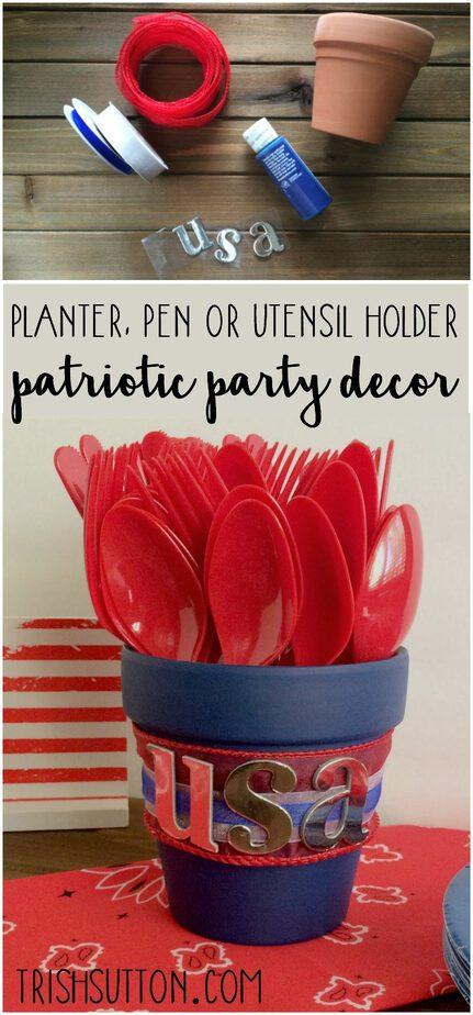 Red, White & Blue Patriotic Party Decor. Planter, Pen or Utensil Holder. TrishSutton.com