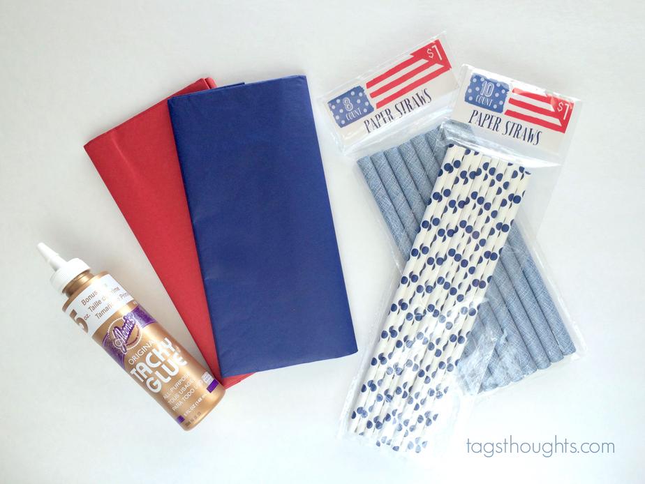 Supplies needed to make tissue sparklers; tissue, glue & straws.