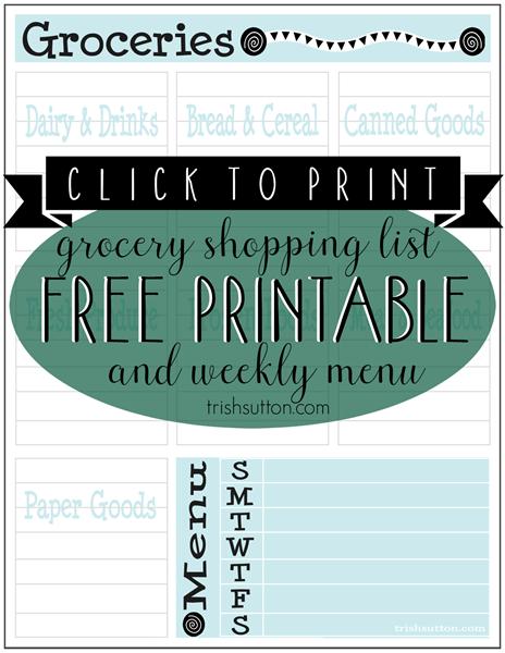 Free Printable Grocery List & Weekly Menu
