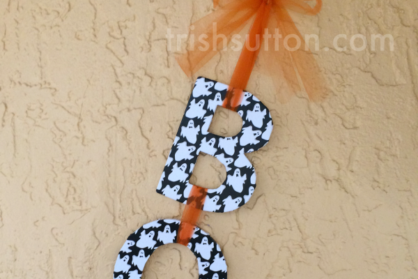 First Day Of Autumn; Fall Wreaths by TrishSutton.com - Boo Halloween Wall Hanging