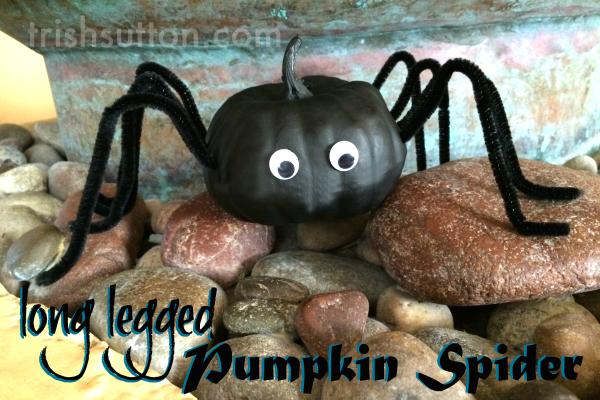 Long Legged Pumpkin Spider | Cute Halloween Decor. A spider that is too cute to fear and it is made from a mini pumpkin! Creepy fun by TrishSutton.com.