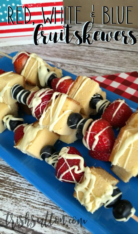 Red, White and Blue Fruit Skewers of Independence Day, Olympics and Summer BBQs. TrishSuton.com