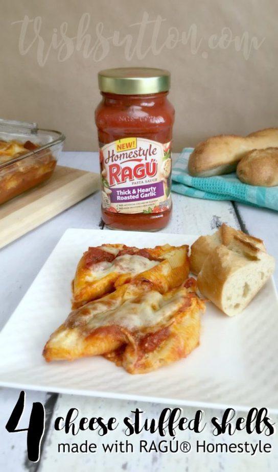 Four Cheese Stuffed Shells: Made With RAGÚ® Homestyle, TrishSutton.com #ad