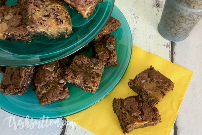 Chocolate Chip Caramel Cake Bar Recipe - TrishSutton.com