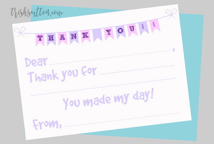 Fill In The Blank Printable Kids Thank You Notes {2 Color Options} TrishSutton.com
