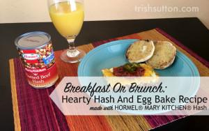Hash & Egg Bake on a blue plate; overnight breakfast casserole