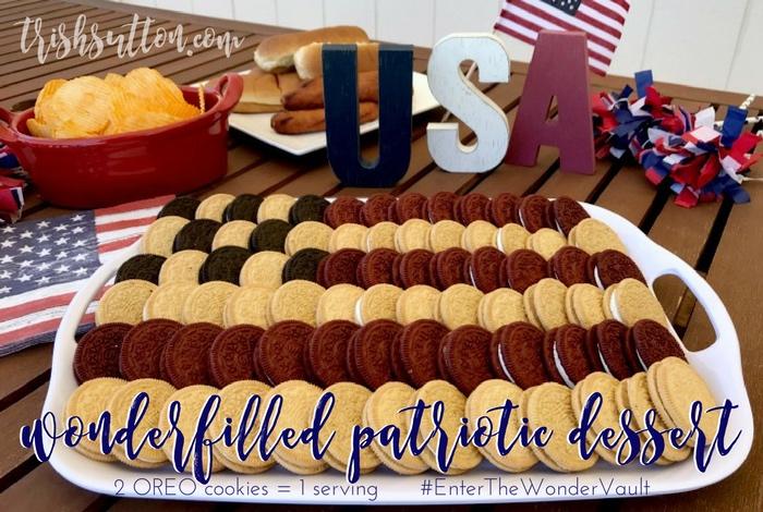 A simple patriotic dessert. Wonderfilled OREO Patriotic Dessert; Red Velvet, Cinnamon Bun, Birthday Cake & Salted Caramel cookies. #EnterTheWonderVault [AD]