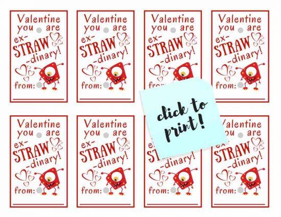 Kids Valentine Printable; Ex-STRAW-dinary Silly Straw TrishSutton.com
