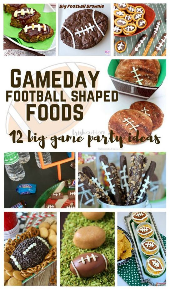 Gameday Football Shaped Foods   Big Game Party Ideas; this list of ideas for game day parties includes twelve ideas from chocolate treats to bean dip & meatloaf. TrishSutton.com