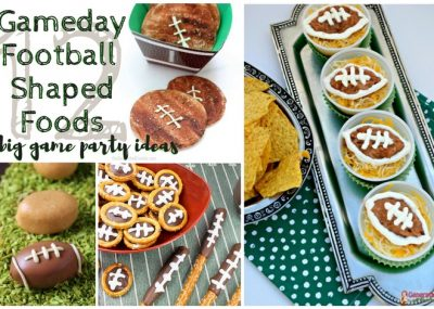 Gameday Football Shaped Foods   Big Game Party Ideas; this list of ideas for game day parties includes twelve recipes from chocolate to treats to bean dip & meatloaf. TrishSutton.com