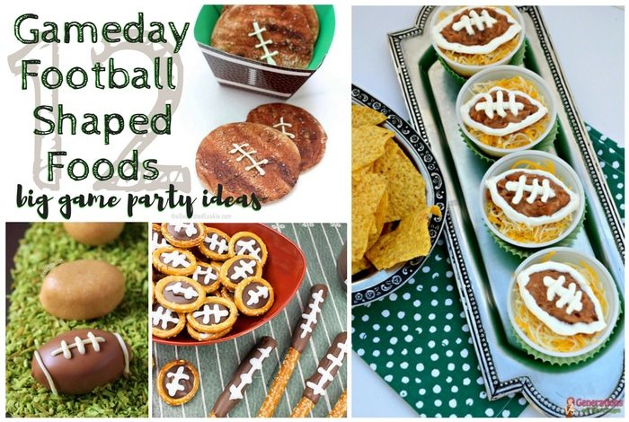 Gameday Football Shaped Foods | Big Game Party Ideas; this list of ideas for game day parties includes twelve recipes from chocolate to treats to bean dip & meatloaf. TrishSutton.com