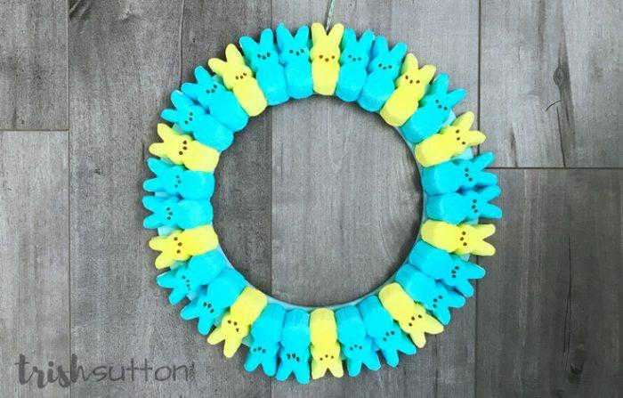 Spring Wreath made with Peeps; TrishSutton.com