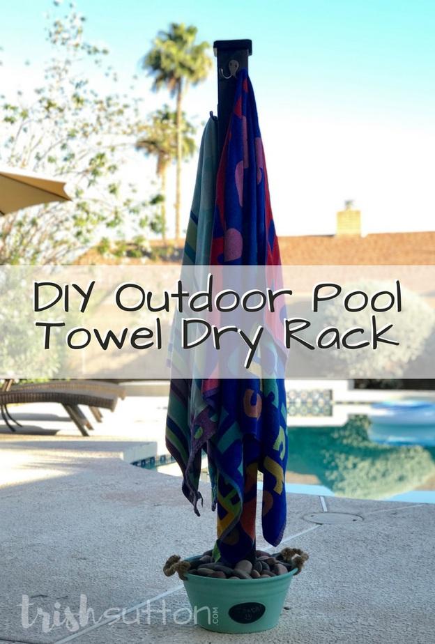 DIY Outdoor Pool Towel Dry Rack   Beach Towel Holder TrishSutton.com