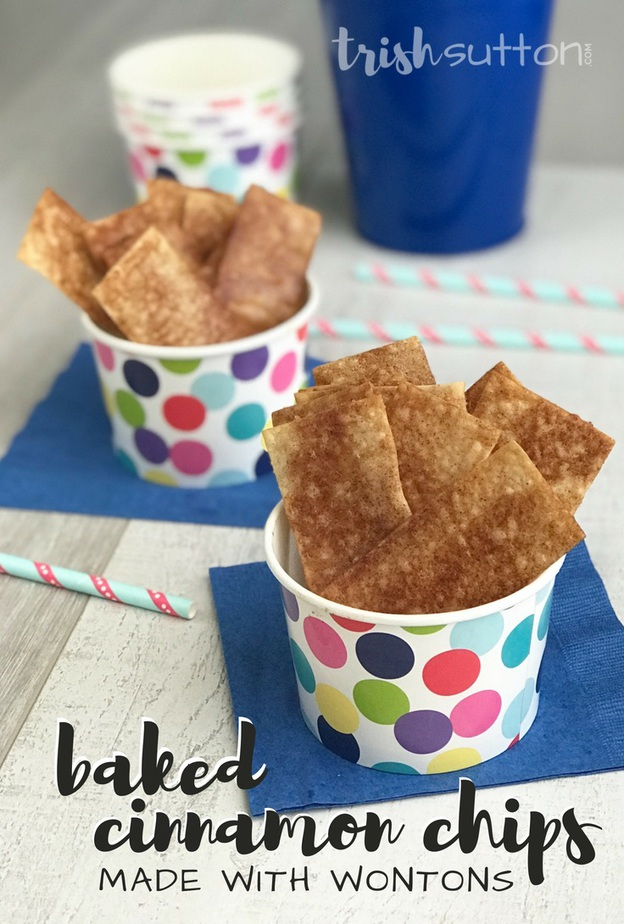 This simple Baked Cinnamon Chips Recipe is made with Wonton wraps. They only require three additional ingredients and are very easy to make! TrishSutton.com