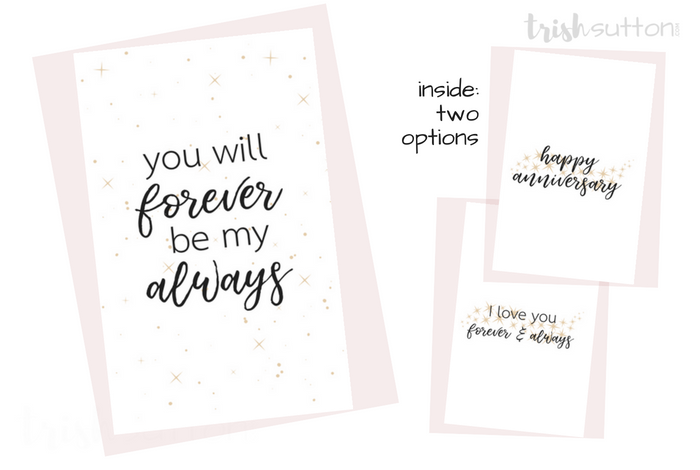 Printable Romantic Greeting Cards   Everyday Love + Anniversary Cards