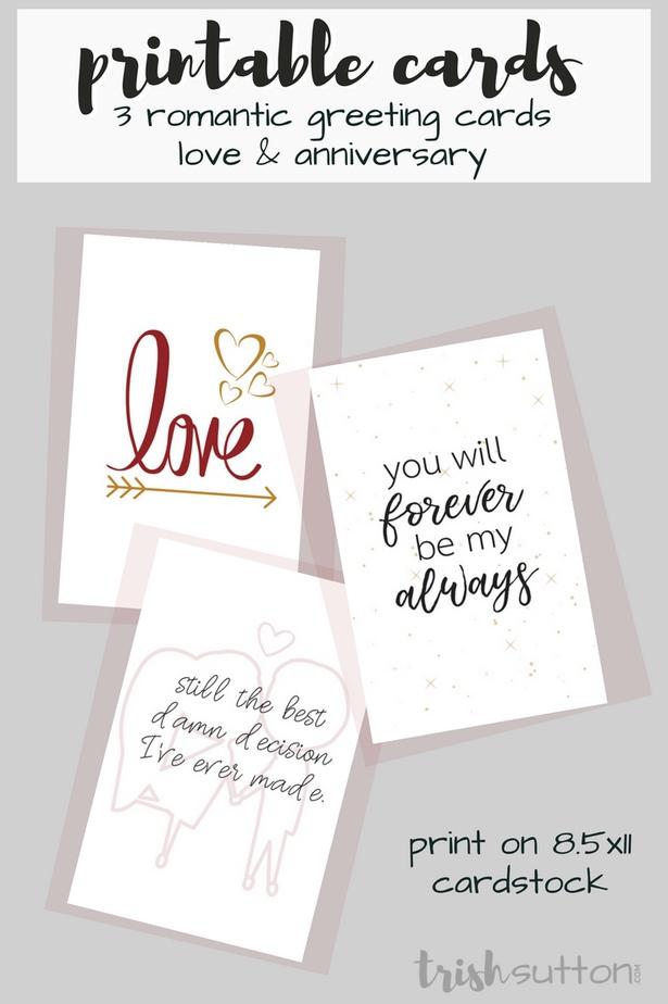 Printable Romantic Greeting Cards   Everyday Love + Anniversary Cards; TrishSutton.com