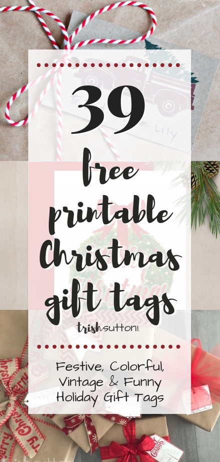 Festive, colorful, vintage and funny gift tags that are also free and convenient. Printable Christmas Gift Tags free to download. Round-up by TrishSutton.com.
