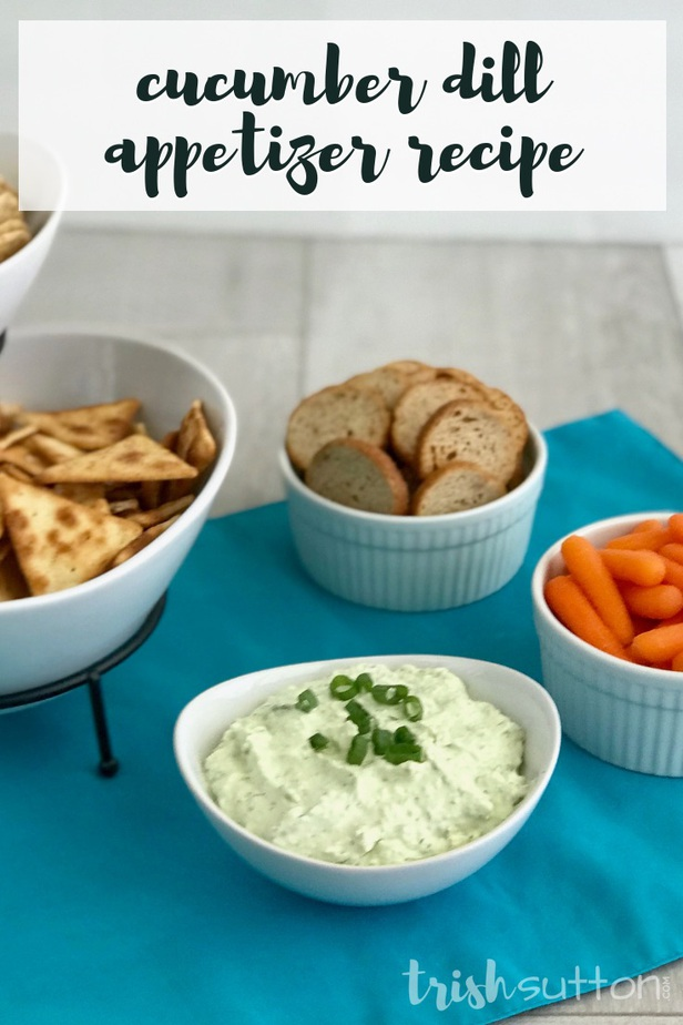 Create a creamy appetizer that can be served as a dip or a spread in just 15 minutes! Easy Creamy Cucumber Dill Appetizer Dip Recipe. TrishSutton.com