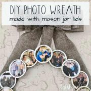 Create a DIY Photo Wreath using Mason jar lids and family photos. Share this sentimental circle of memories as a gift. Give it as a gift for birthdays, Mother's day, Grandparent's day or Christmas.
