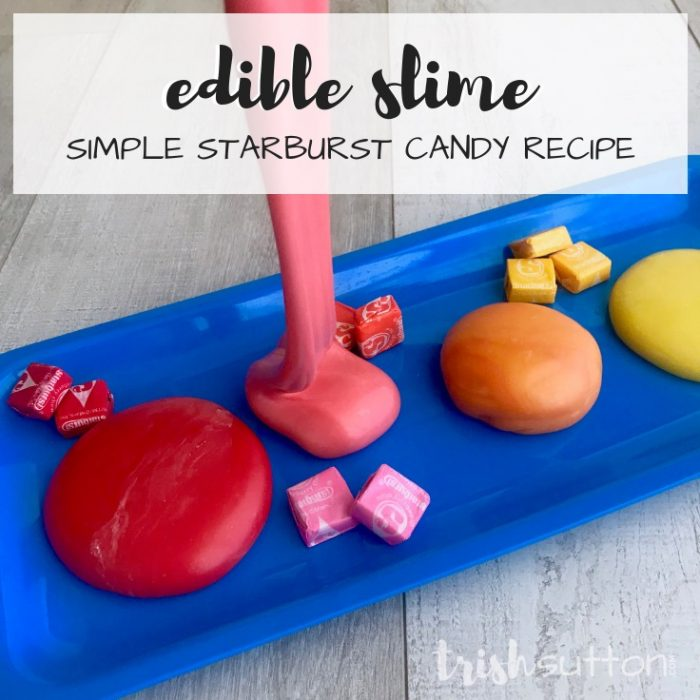 You can have your fun and eat it too with this simple starburst candy recipe for Edible Slime! Kids of all ages will enjoy this three ingredient fun. TrishSutton.com