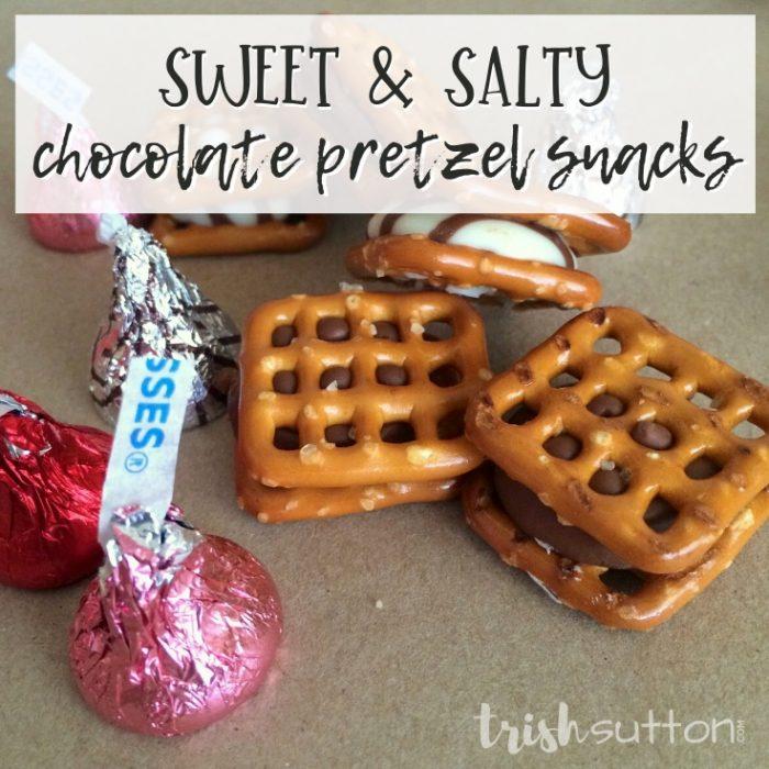 chocolate pretzel snacks with wrapped Hershey's kisses