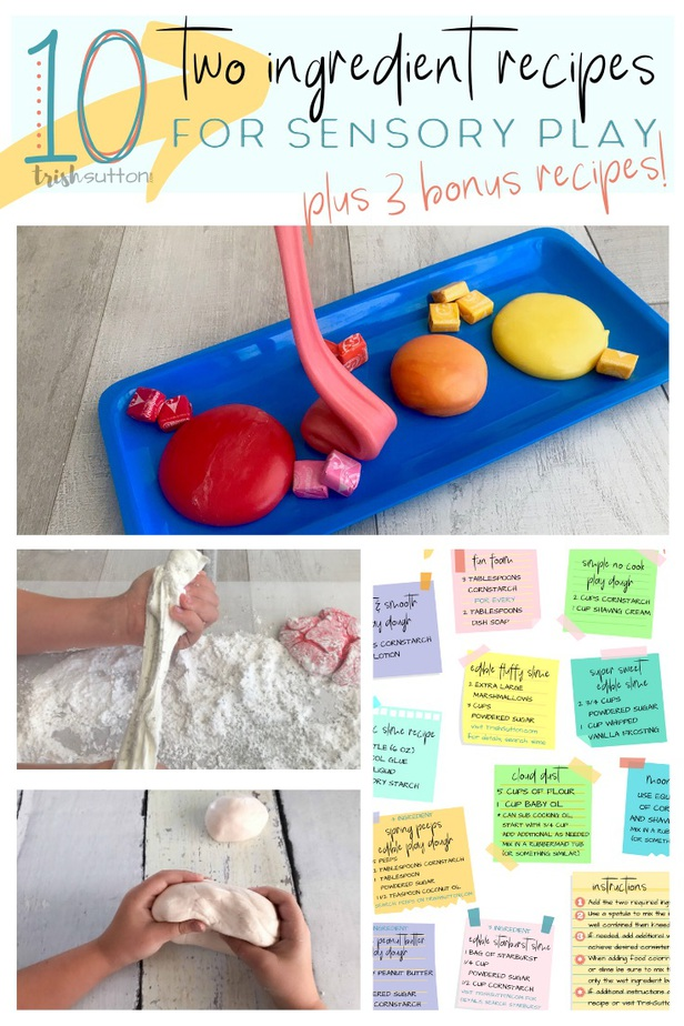 collage image with three pictures of play dough and post-it notes with recipes for play dough, slime, putty & fun foam
