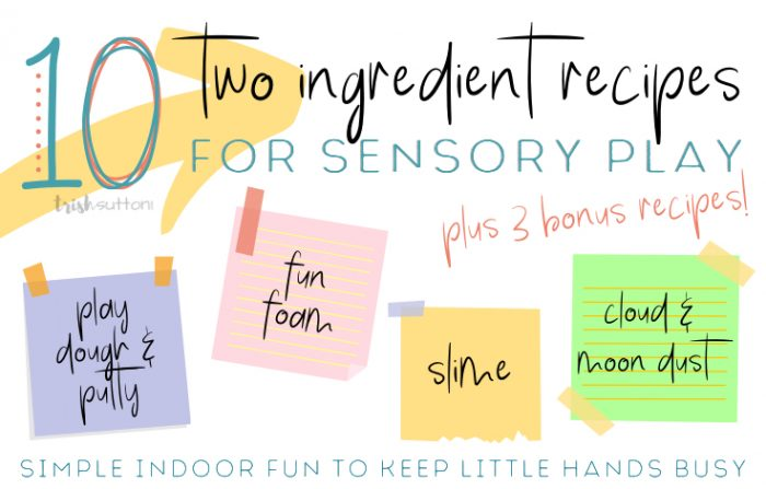 post-it notes with recipes for play dough, slime, putty & fun foam