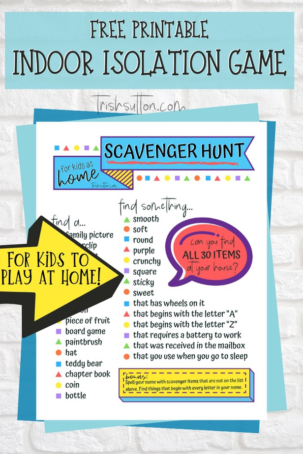 Pinable image of an Indoor Scavenger Hunt for Kids on a brick background.