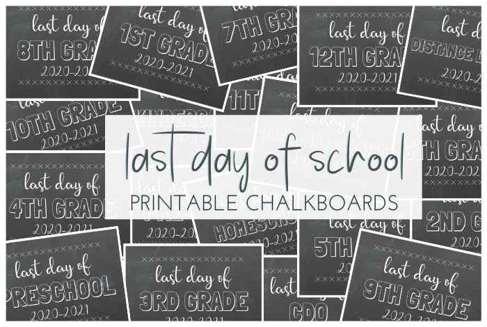 Print Yourself Any Grade Last Day of School Sign Last Day of School Chalkboard Quarantined School Sign Last Day of First Grade