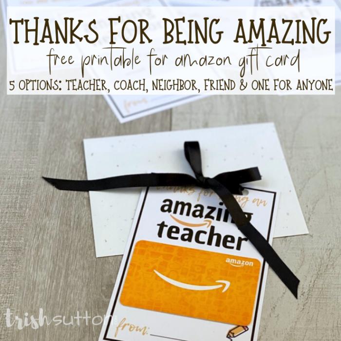 amazing amazon gift card printable on a wood background