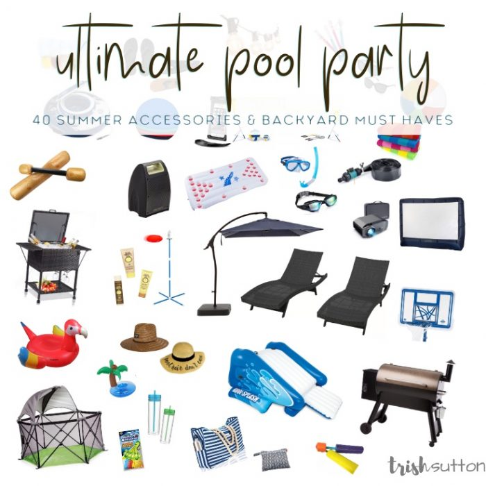 Collage of images to throw the ultimate pool party.