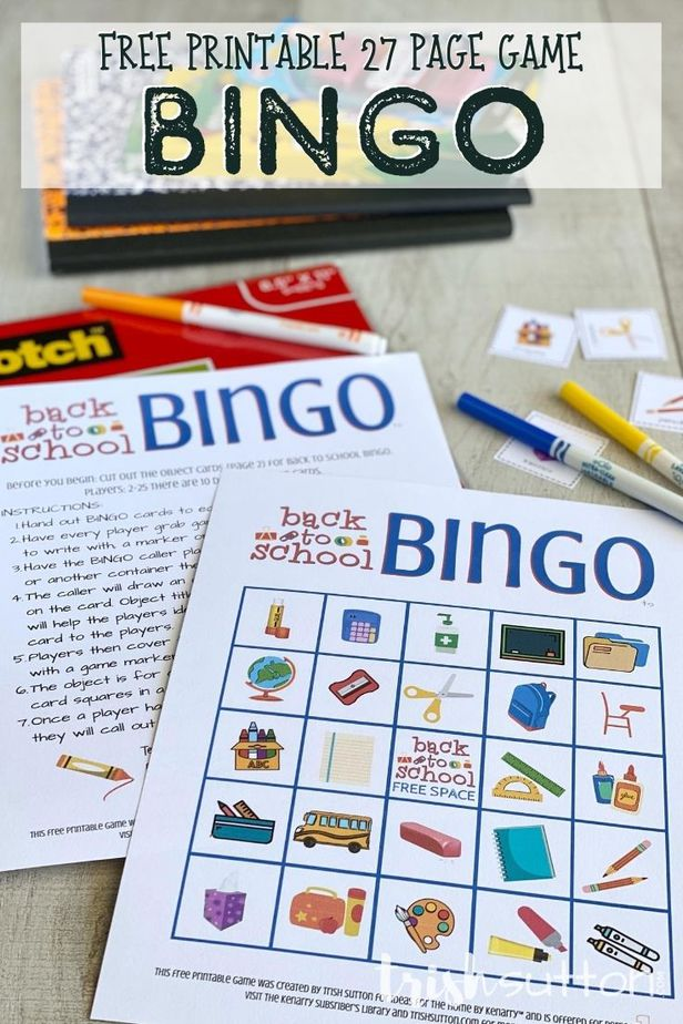 This free printable Back to School Bingo game includes 25 different Bingo cards for 2-25 players; play it at home or in the classroom.