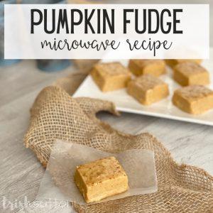 Pumpkin Fudge on a piece of burlap.