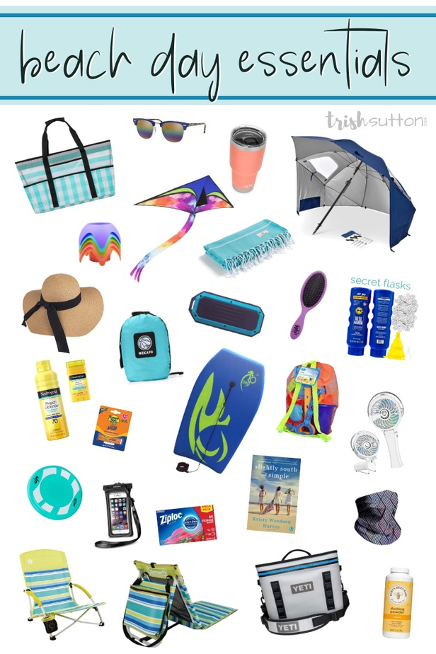 Collage of 25 beach day essential items.