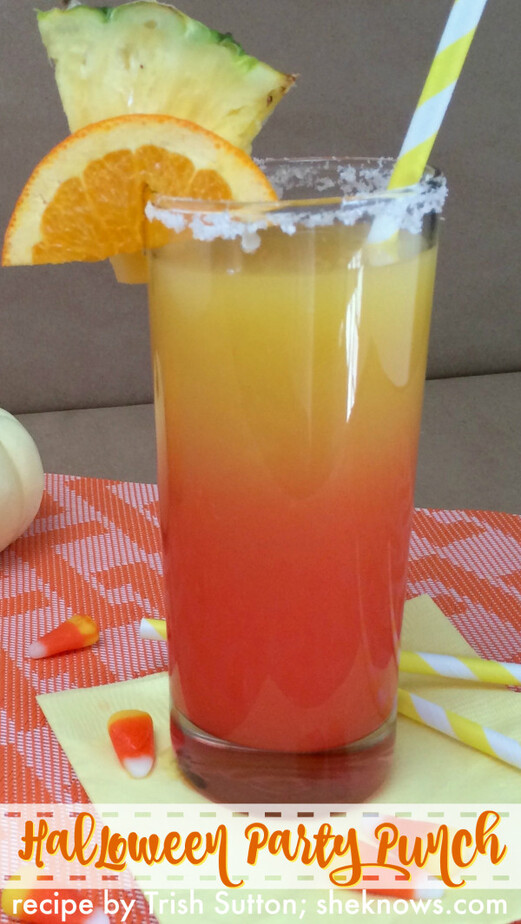 """Halloween Party Punch by TrishSutton.com; Nothing says """"Halloween"""" like Candy Corn. And nothing says """"Party"""" like a cocktail! Halloween party punch is the adult version of classic candy corn."""