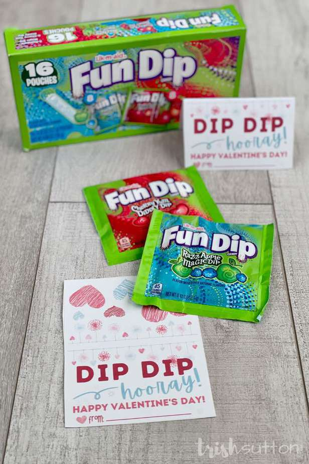 Dip Dip Hooray! Share a sugary sweet Valentine treat with this Fun Dip Kid's Valentine Free Printable.