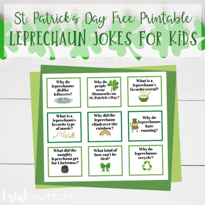 Share these silly Leprechaun Jokes for Kids to celebrate St. Patrick's Day! Grab this free printable and share these goofy green themed jokes this spring.
