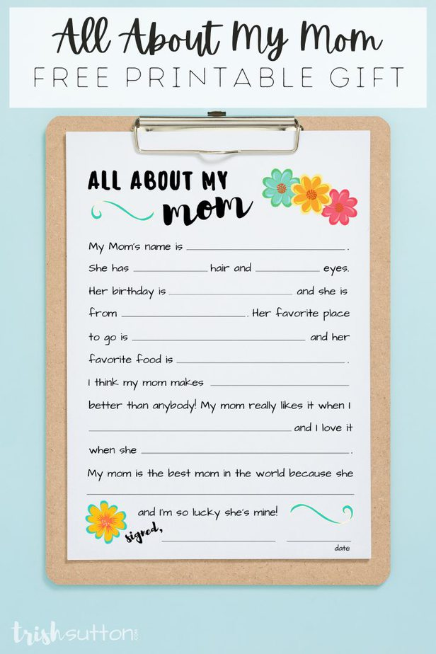 """Share this simple fill in the blank All About My Mom Free Printable Interview with mothers on special days (including all of those that end in """"Y""""). This sweet questionnaire is made up of personal memories, loving words and is sure to be cherished!"""