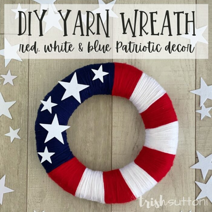 Create simple summer red, white and blue patriotic decor with this easy to follow DIY Yarn Wreath tutorial.