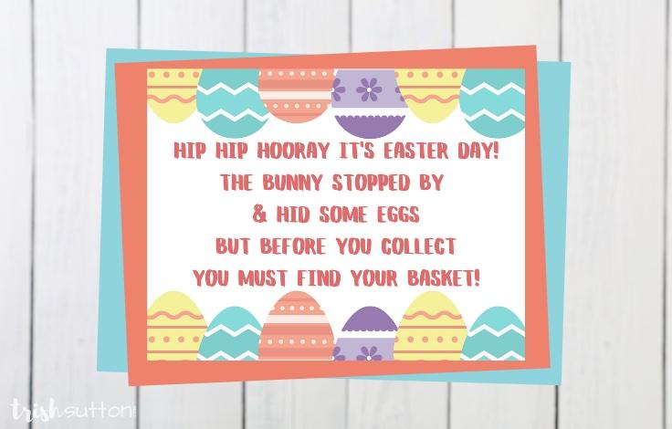 Free printable clue cards for an Easter Basket Scavenger Hunt. TrishSutton.com