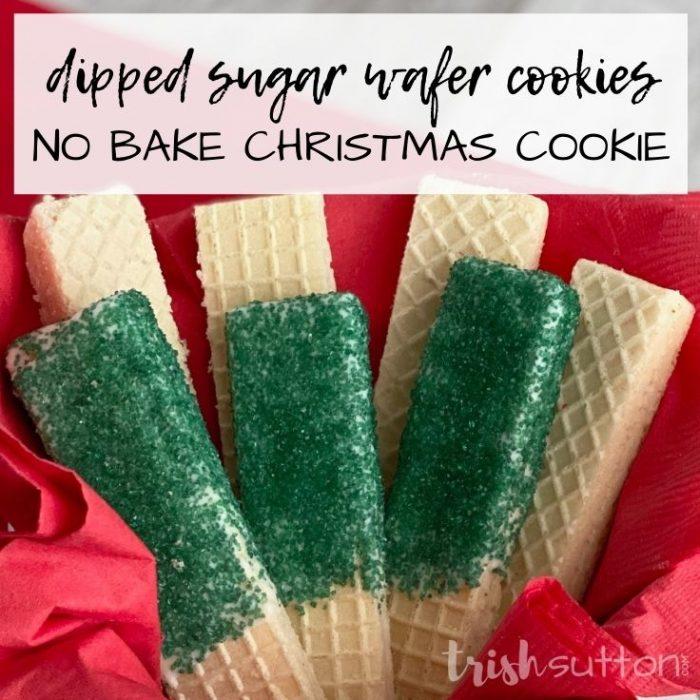 Dipped Sugar Wafer Cookies | No Bake Christmas Cookie; TrishSutton.com
